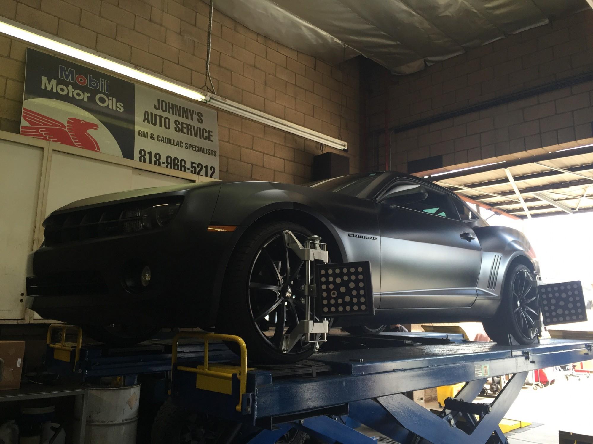 Camaro front quarter on alignment rack